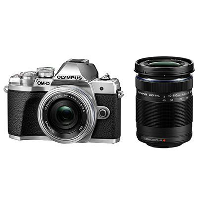 Olympus OM-D E-M10 Mark III Digital Camera with 14-42mm EZ Lens and 40-150mm R Lens - Silver